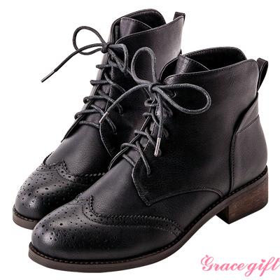 Grace gift- 後V英倫牛津雕花短靴 黑