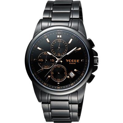 VOGUE 嶄新系列三眼計時腕錶-IP黑x玫塊金時標/40mm