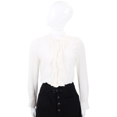 TORY BURCH JANE 米白色荷葉剪裁長袖絲質襯衫