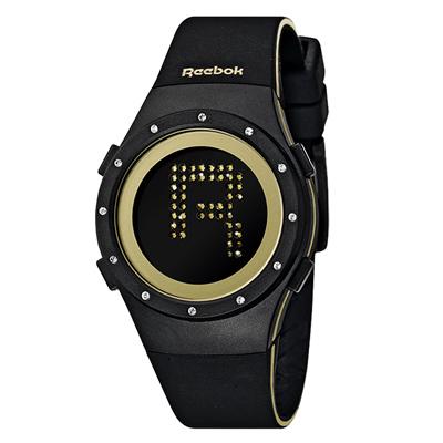 Reebok DROP RAD系列閃耀晶迷電子腕錶-金x黑/ 38 mm