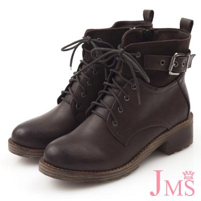 JMS-帥氣男友款異材質拼接搭扣綁帶短靴-咖啡色
