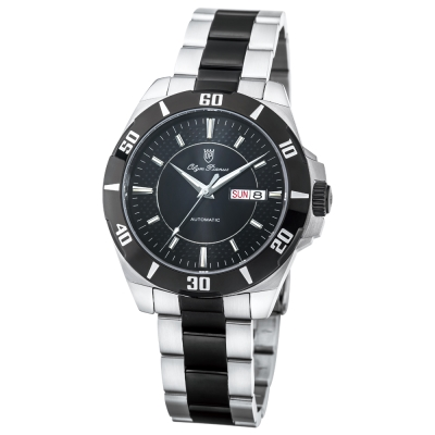 Olym Pianus 奧柏表 仕紳時尚潛水造型自動機械腕錶-黑/43mm