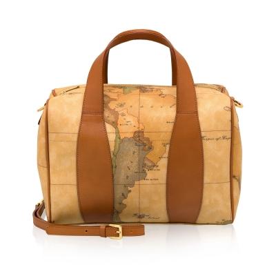 Alviero Martini 義大利地圖包 波士頓手提肩背包(中)-地圖黃