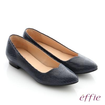effie 舒適通勤 絨面真皮優雅尖頭平底鞋 深藍色