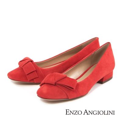 ENZO ANGIOLINI--蝴蝶結飾麂皮平底鞋-亮眼橘紅