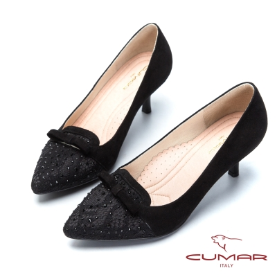 CUMAR閃耀夜宴-蕾絲水鑽尖頭高跟鞋-黑