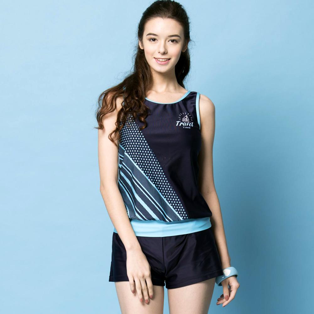 聖手牌 泳裝 水藍橫條兩件式女泳裝