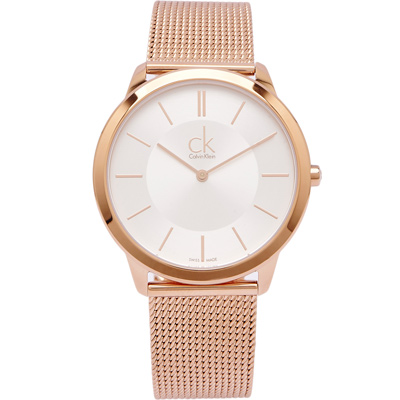 CK Calvin Klein 玫瑰金色的米蘭帶手錶(K3M21626)-銀面/39mm