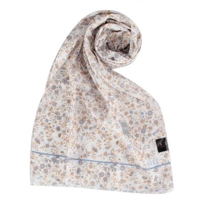 DAKS 經典浪漫花卉抗UV薄棉圍巾-藍色