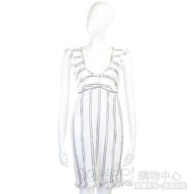 Kristina Ti 白/灰色條紋洋裝