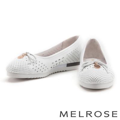 娃娃鞋 MELROSE 蝴蝶結金屬圓飾全真皮娃娃鞋-白