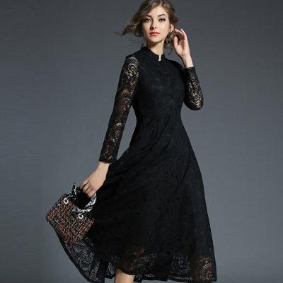 ABELLA 艾貝拉 黑圓長袖排扣鉤花蕾絲擺裙洋裝(二色/S-2XL)