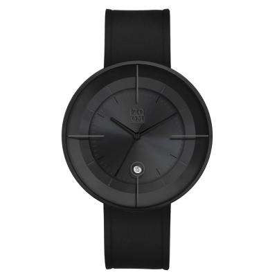 ZOOM FLOATING 3829 光燦美學真皮皮革手錶(ZM3829)-黑色/43mm