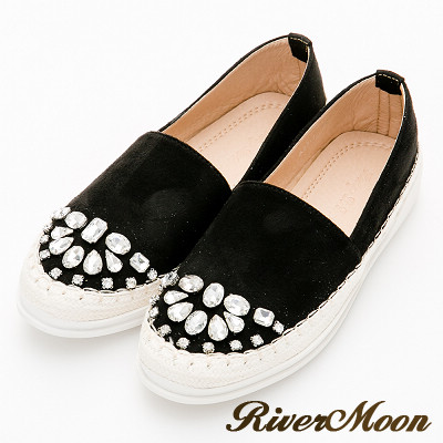 River&Moon大尺碼-晶鑽細絨麻編休閒懶人鞋-黑