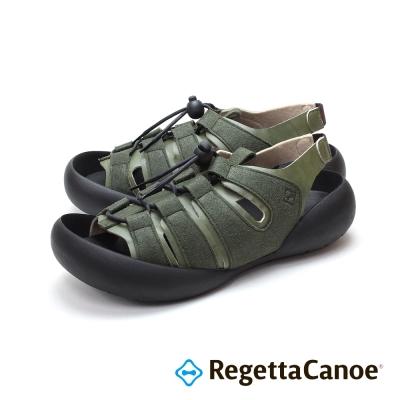 RegettaCanoe-異材質撞色扣帶 可調式樂步鞋-卡其色