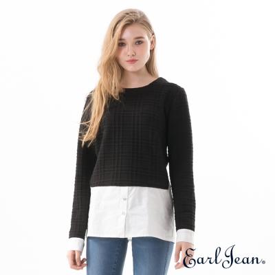 Earl Jean 異素材拼接假兩件襯衫-黑色-女