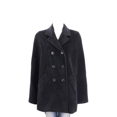 MARELLA 黑色喀什米爾羊毛排釦斗篷外套(95%WOOL)