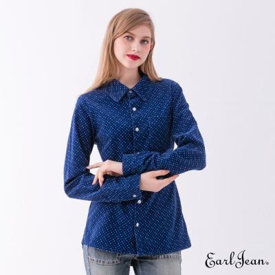 Earl Jean 燈芯絨印花襯衫-藍色-女