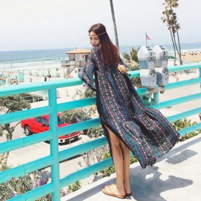 La Belleza渡假風開叉民族風印花喇叭袖羽毛綁繩波西米亞洋裝