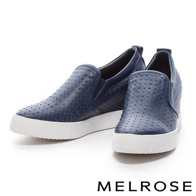 MELROSE-激光排鑽造型全真皮內增高厚底休閒鞋-藍