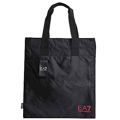 EMPORIO ARMANI EA7桃紅色品牌圖騰LOGO尼龍購物側背包(黑)