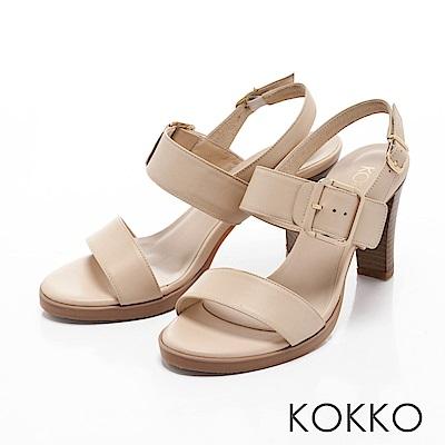 KOKKO-清新微甜真皮後帶粗高跟涼鞋-簡約杏