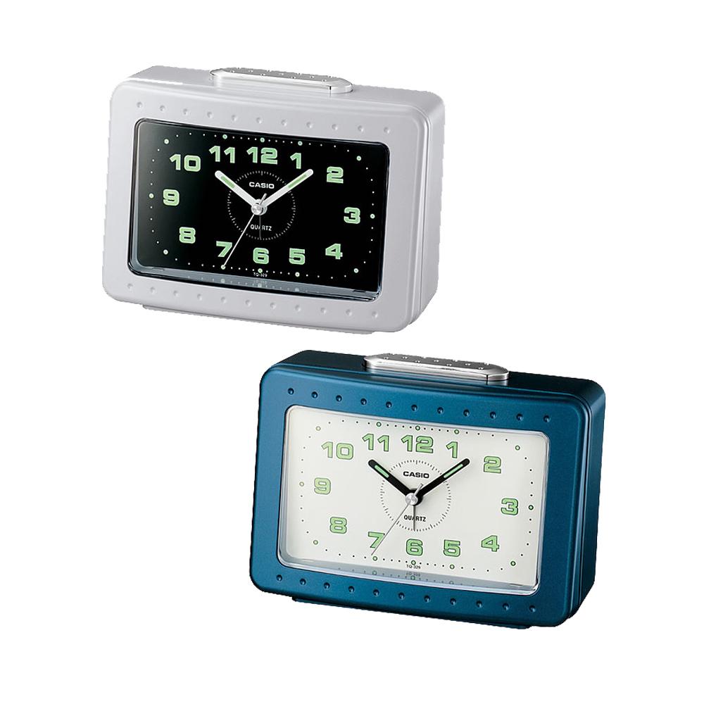 CASIO 桌上型指針長方形鬧鐘(藍、白)