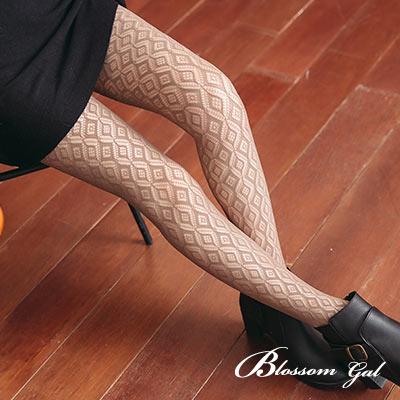 Blossom Gal 日韓風復古經典菱格紋網襪(共七色)
