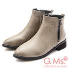 G.Ms. 素面拼接造型雙拉鍊短靴-灰色