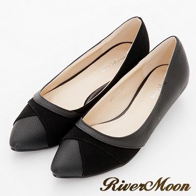 River-Moon尖頭鞋-交叉壓紋皮質拼接麂絨低跟鞋-黑系