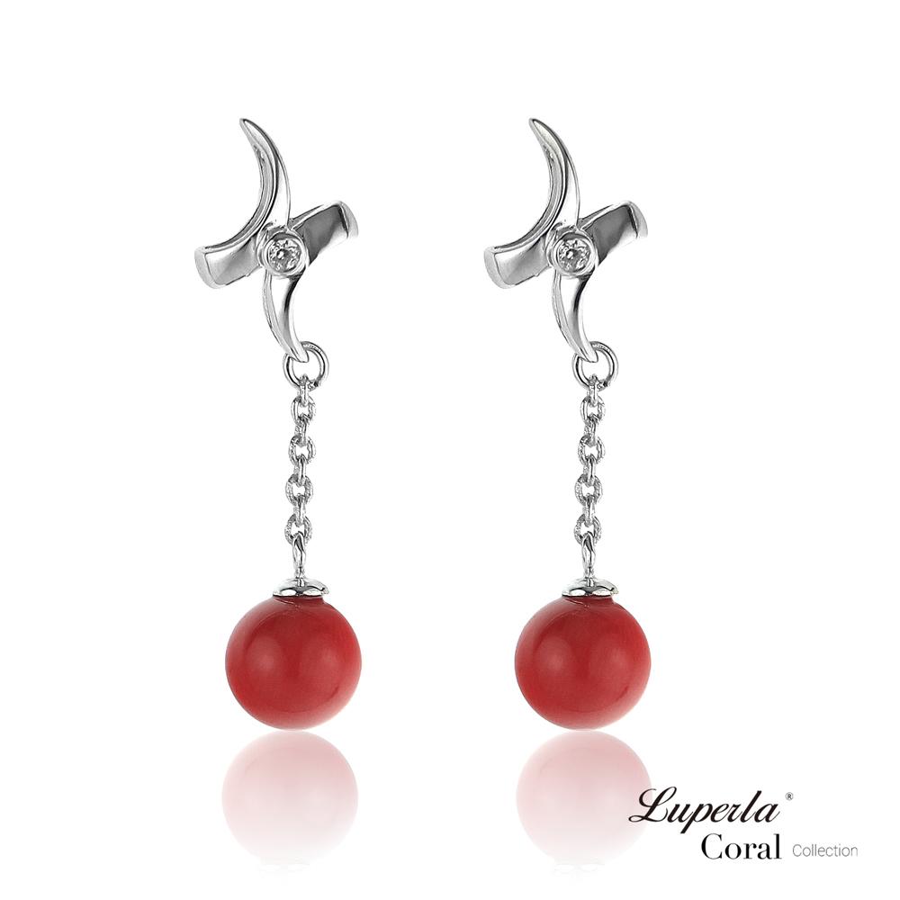 【大東山珠寶】全紅珊瑚純銀耳環 花好月圓