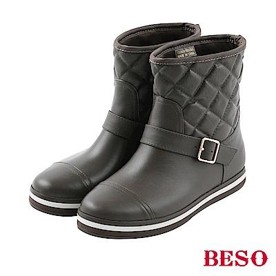 BESO 街頭時髦 經典帶釦格紋短筒雨靴~咖啡