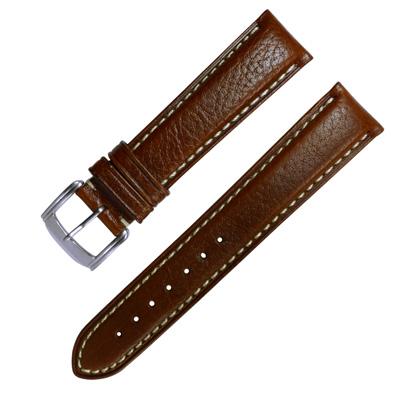 Watchband  各品牌 加長型精緻牛皮錶帶~咖啡色 20.22mm