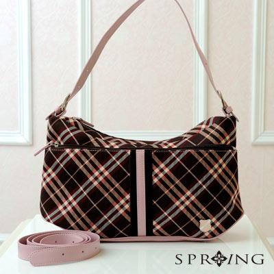 【SPRING】英格蘭格紋2WAY手提包-名媛藕紫(共兩色)