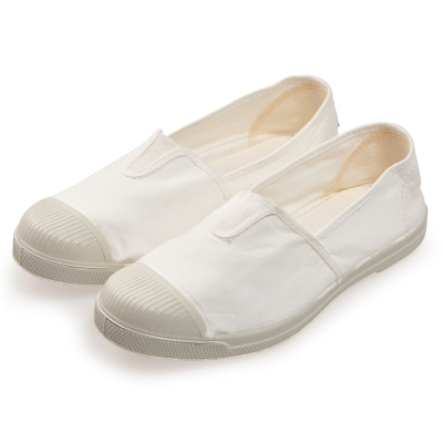 (女)Natural World 西班牙休閒鞋 素色鬆緊基本款*白色