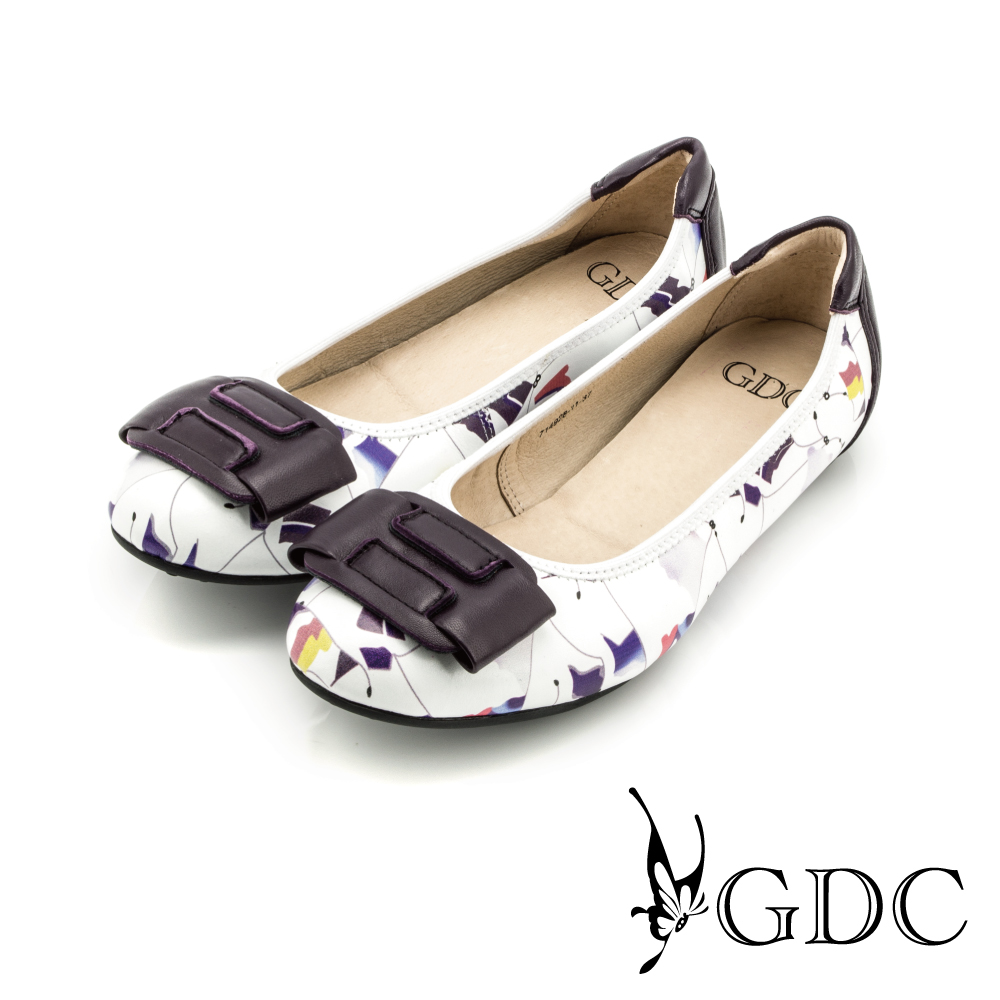 GDC-俏皮碎花拼接真皮平底娃娃鞋-白色