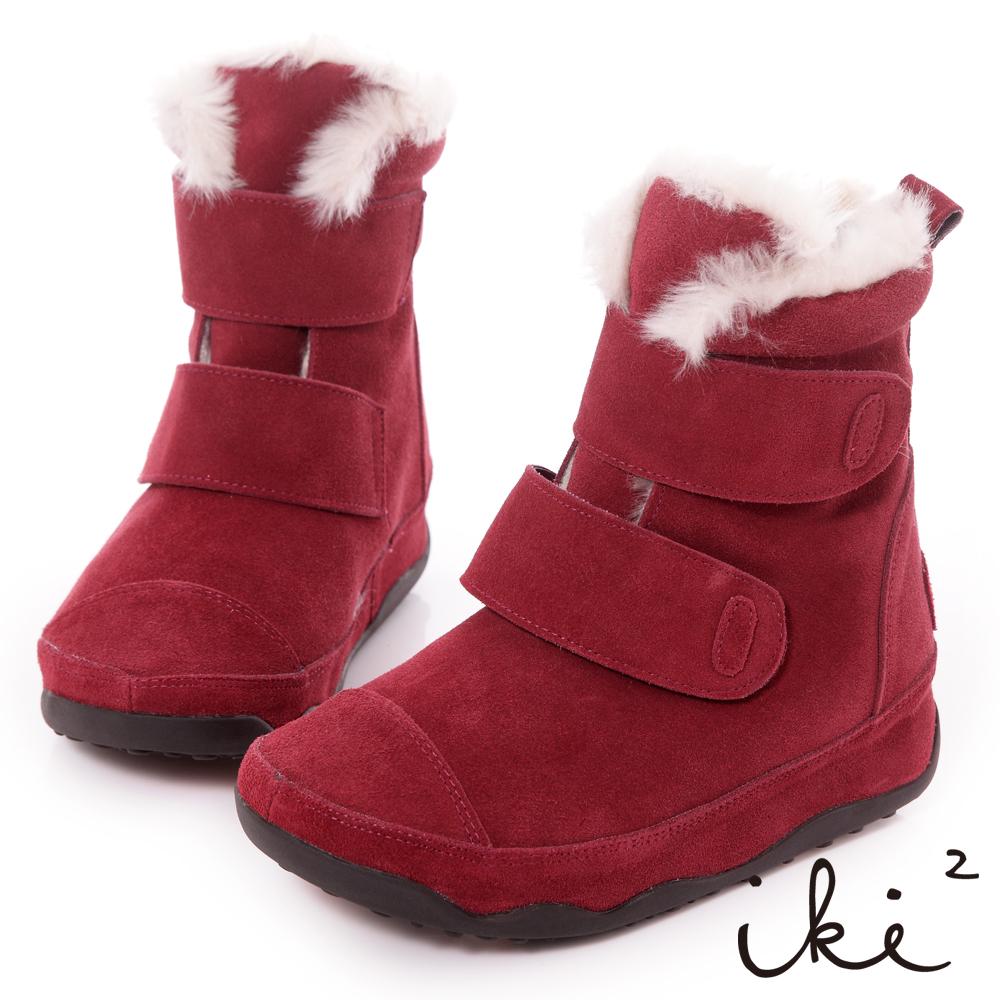 iki2機能雪靴系列-真麂皮魔鬼氈厚底雪靴-野莓紅