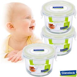 【baby專用】Glasslock寶寶副食品專用微波保鮮盒- 圓形165ml三入組