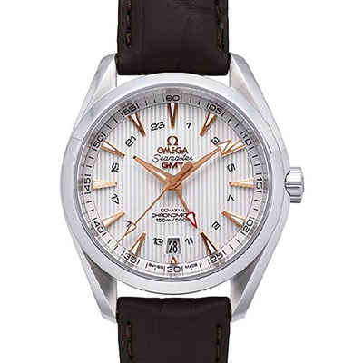 OMEGA 歐米茄 Seamaster Aqua Terra GMT皮帶腕錶-白/43mm