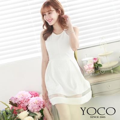 東京著衣-yoco 透膚網紗拼接壓紋無袖洋裝-XS.S.M(共二色)