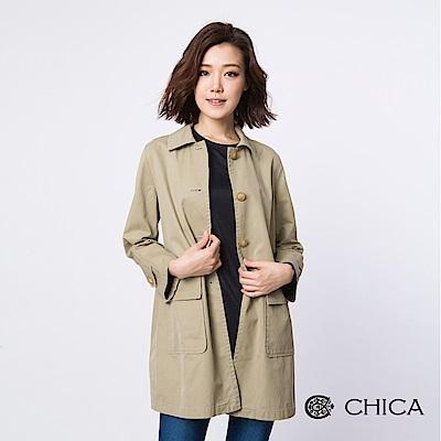 CHICA-俐落女孩簡約排釦風衣外套-1色