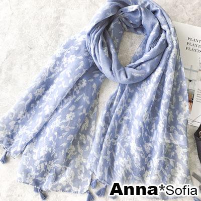 AnnaSofia 花葉飄零 流蘇墬大披肩圍巾(藍系)