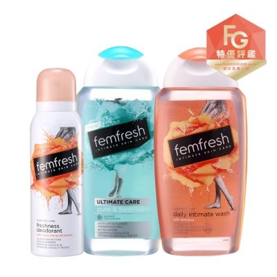 femfresh芳芯 淨潤保濕組(淨嫩/特潤潔浴露250ml+舒緩噴霧125ml)