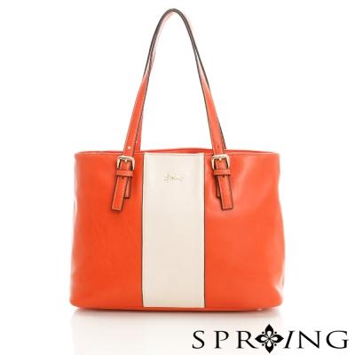 SPRING-粉領時尚-拚色托特包-活力橘