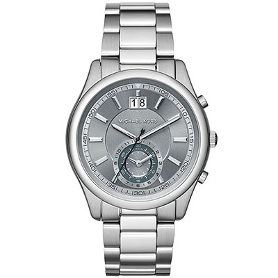 Michael Kors 爵士品味大日期計時腕錶-灰x銀/42mm