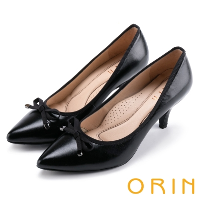 ORIN 魅力輕時尚 柔軟羊皮蝴蝶結尖頭高跟鞋-黑色