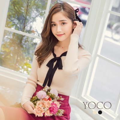 東京著衣-yoco 法式優雅簡約撞色綁帶針織上衣-S.M.L(共二色)