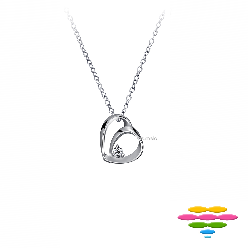 彩糖鑽工坊 日本10K 愛心雙心鑽石項鍊 情有獨鍾系列