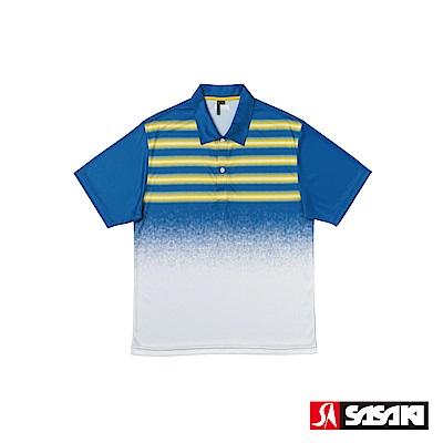 SASAKI 長效性吸濕排汗功能網球短衫-男-寶藍/檸檬黃