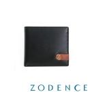 ZODENCE MAN 義大利牛皮系列配色LOGO設計拉鍊零錢袋短夾  黑